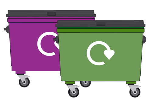 Purple and green trade waste bins