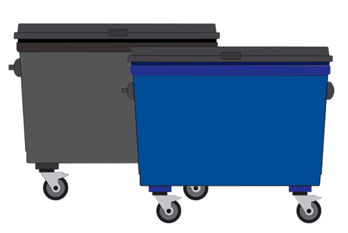 Black and blue trade waste bins